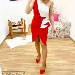 vestido rojo y blanco vestir
