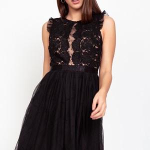 vestido corto mujer tul y plumeti negro