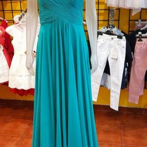 vestido madrina elegante aguamarina largo