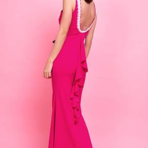 vestido largo barato elegante espalda abierta volante