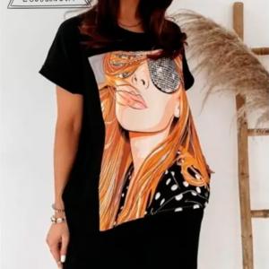 vestido tipo camiseta negro talla grande chica fashion