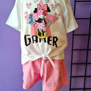conjunto pantalon corto y camiseta algodon niña