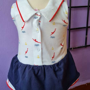 vestido bebe algodon marinero