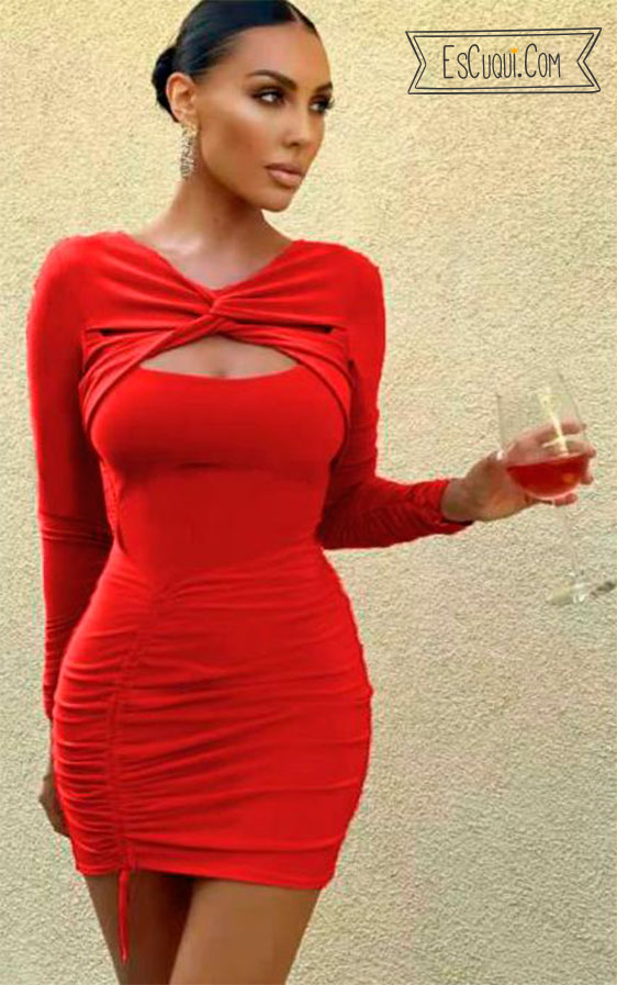 vestido ceñido sexy rojo mujer